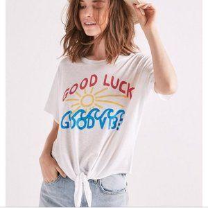 Lucky Brand Womens Good Luck Good Vibes Tee